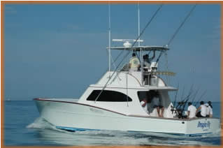 The Dragin Fly 42 foot Sport Fishing Boat located in Los Suenos Marina Costa Rica.
